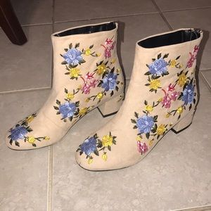 Topshop Floral Blossom Ankle Booties summery